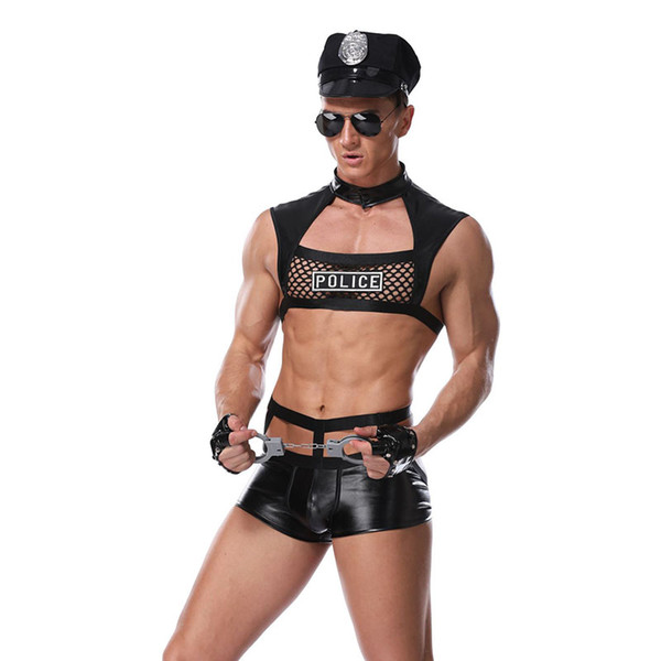 Men Vinyl Leather Costume Cosplay Sexy Night Cops Role Play Fancy Adult Set Faux Leather men For Gay Underwear