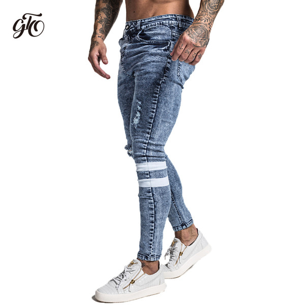 Gingtto 2018 New Men Skinny Jeans Skinny Slim Fit Stretchy Blue Jeans Big Size Cotton Lightweight Comfy Hip Hop White Tape zm49