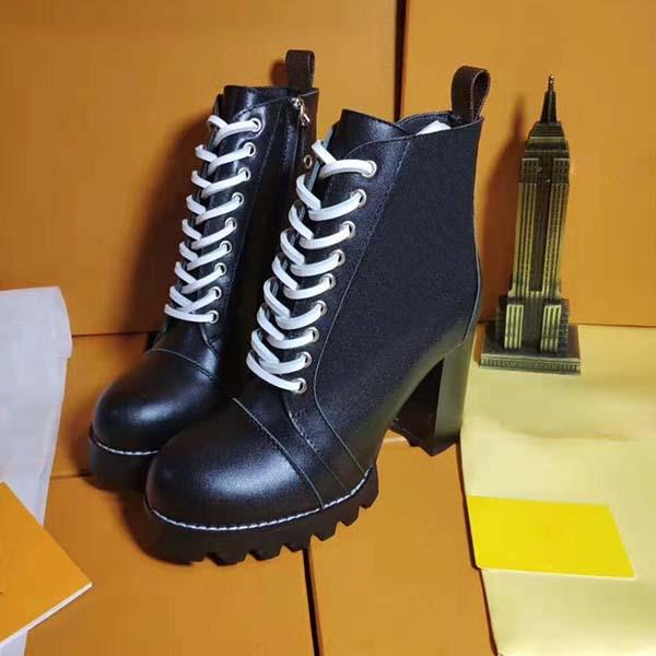 2020Womens Designer Genuine leather Fashion Boots Martin Boots Platform Work Boot Snow Boot Ankle Boots Winter Shoes 9cm Heel siz35-42