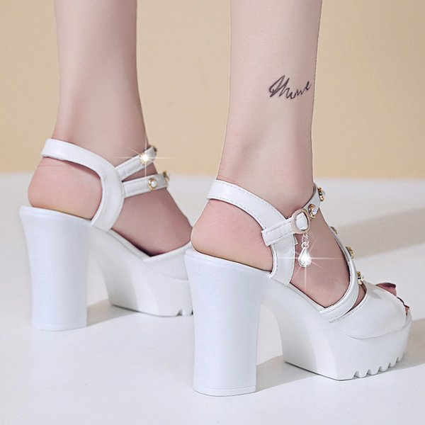 Women Ladies Fashion Crystal Solid Peep Toe Buckle Casual Shoes Sandals sandals high heels women sandals platform high heels
