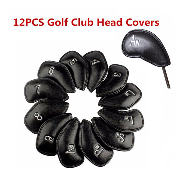 12 Teile / satz Exquisite PU Golf Club Eisen Kopfbedeckungen Protector Buchstaben Stickerei Golf Clubs Kopf Hülsen Zubehör Schwarz