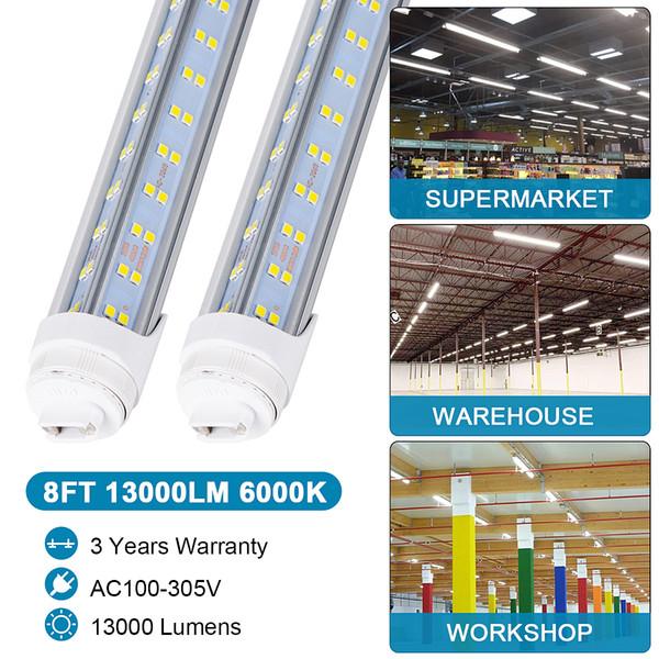 R17d Fa8 8ft Led Tube Light Bulb 120w 13000lm Double Side V Shape 8 Foot Led Light Fixtures T8 Led Shop Lighting Led Tube Price Led Tube Replacement