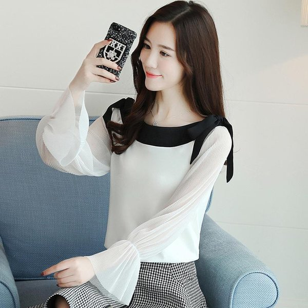 2019 Spring Women's long sleeve chiffon top straight blouses bow trumpet sleeve pure elegant shirt atmosphere clothing 1596 50
