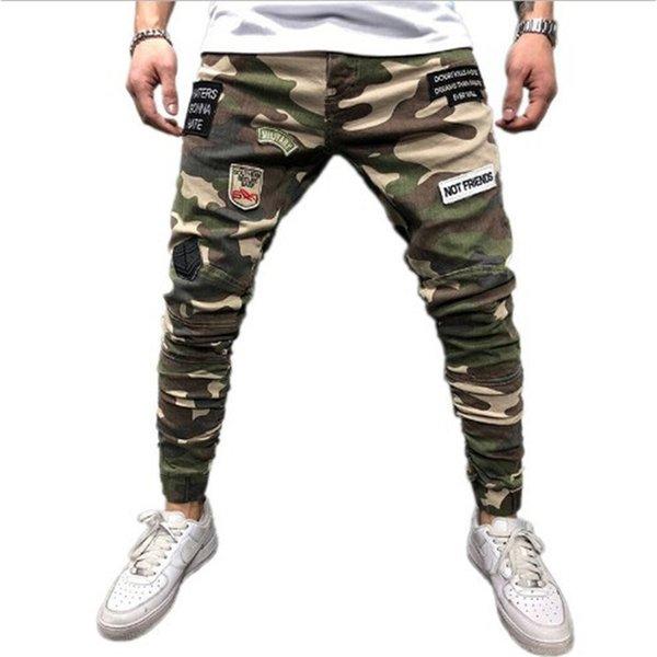 Mens Skinny Stretch Denim Calças Camuflagem Plissado Rasgado Slim Fit Calças Jeans 2019 Hot cargo pants jeans men Clothing