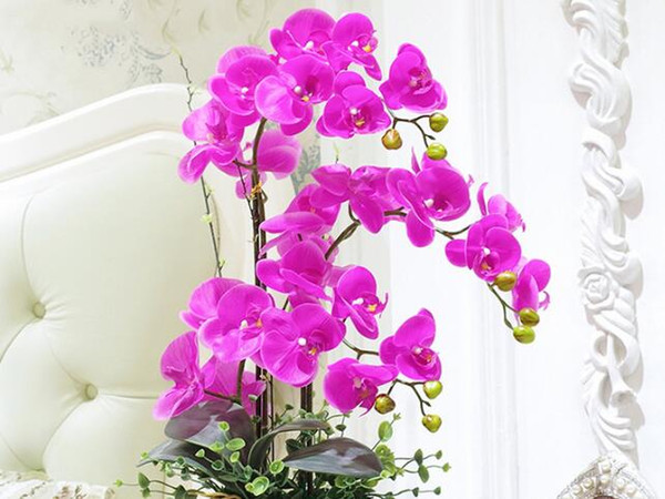 10Pcs/lot Lifelike Artificial Butterfly Orchid flower Silk Phalaenopsis Wedding Home DIY Decoration Fake Flowers free shipping