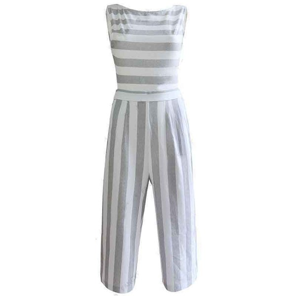 Hot Sale Women Sleeveless Striped Jumpsuit Casual Clubwear Wide Leg Pants Outfit Female Summer Jumpsuits Women Sets Clothing
