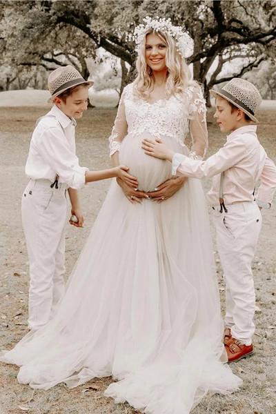 Pays Boho Robes De Mariée De Maternité Avec Des Manches D'été Plage Robe De Mariée En Dentelle Bohème Plus La Taille 2019 Tulle Robes De Mariée Pas Cher