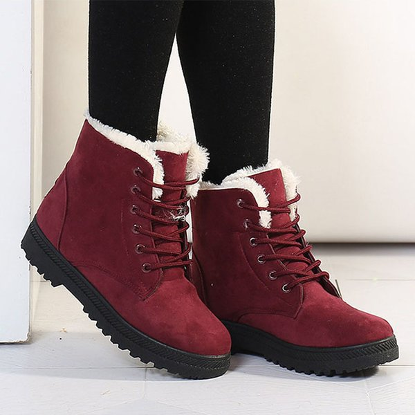 Warm Platform Women Winter Boots With Fur Plus Size Cotton Snow Boots Women Shoes Footwear Black Gray Ladies Ankle Boots Ydt1030