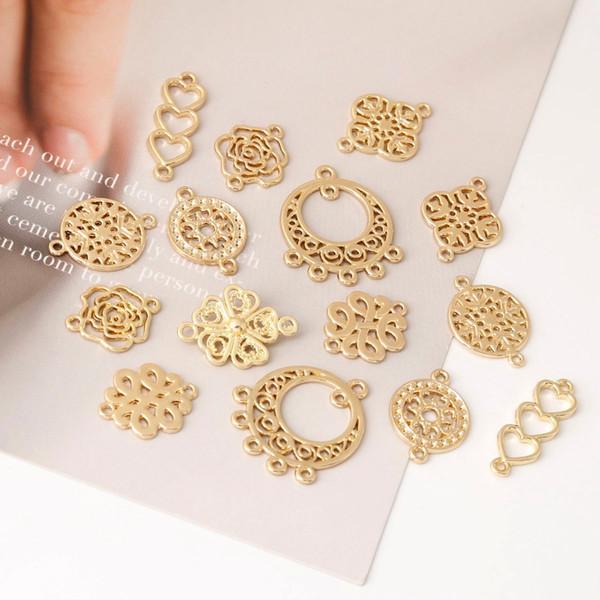 10 pcs Mix Antique Banhado A Ouro Conector para Brincos Jóias Fazendo Acessórios Pulseira Artesanal DIY Apreciação artesanal 8 estilos