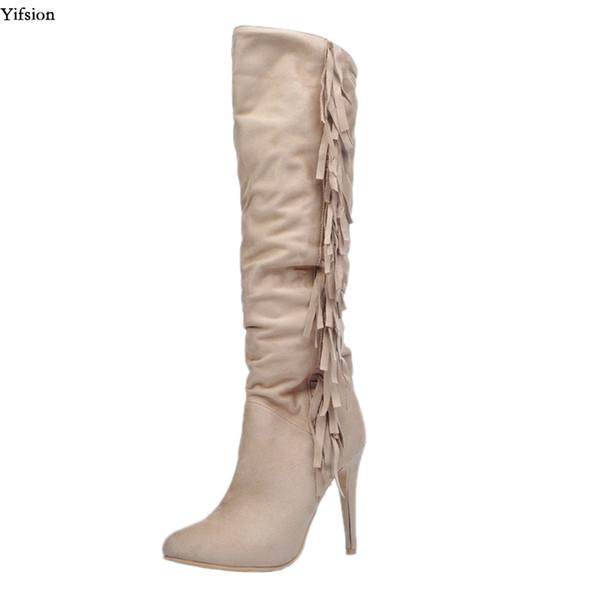 Yifsion Nuevas Mujeres Rodilla Botas de flecos altos Sexy Stiletto Tacones altos Botas Punta estrecha Albaricoque Zapatos casuales Mujeres más el tamaño de EE.UU. 5-15