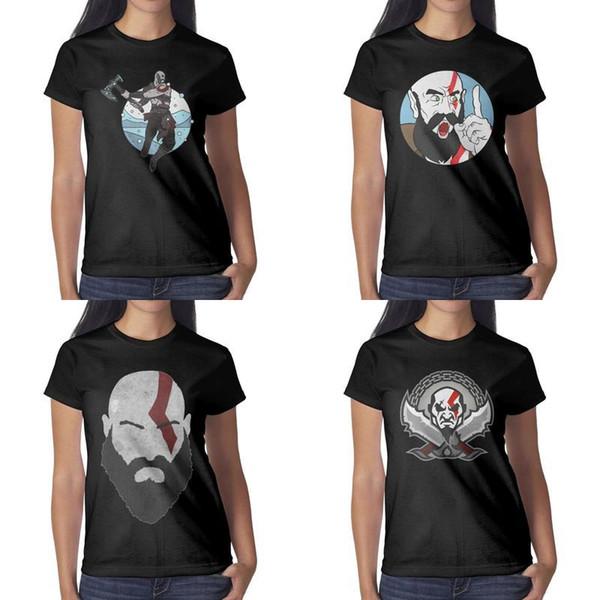 Impresión de diseño para mujer God of War Kratos Knife camiseta negra camiseta gráfica camiseta loca de la banda camisetas lema linda cara de novedad MAH