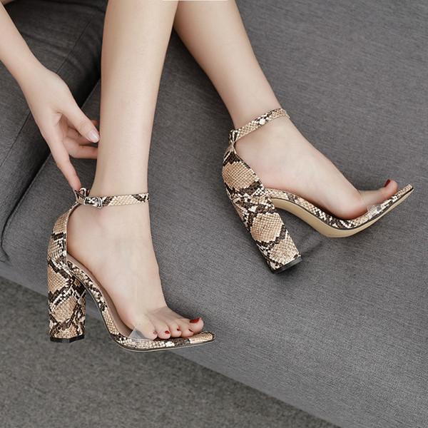Pretty2019 High Fund Grueso con patrón de serpiente de zapato de Roma Una palabra trae sandalias