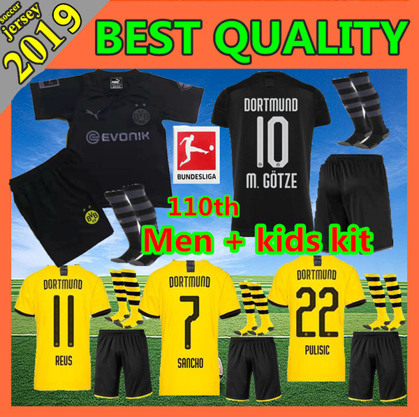 best selling 2019 BVB Borussia dortmund soccer jersey 110th anniversary HAZARD 19 20 football Shirt SANCHO REUS HUMMELS DELANEY men + kids kit uniforms