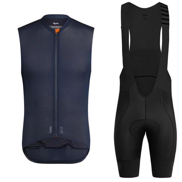 New 2019 Rapha Cycling Sleeveless jersey Vest pantaloncini set uomini maglia ciclismo estate quick dry mtb bike Bib Shorts