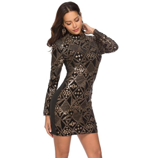 Designer Women Embroidery Sequins Dresses Fashion Long Sleeve High Collar Bodycon Dresses Womens Party Club Clothing