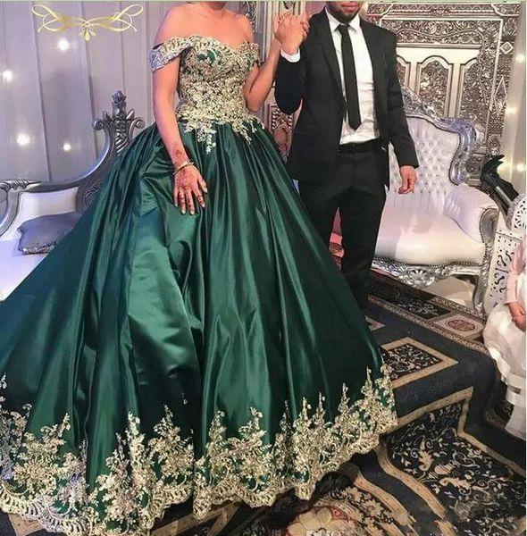 Compre Vestidos De Fiesta De Encaje Verde Oscuro Y Dorado Vestido De Fiesta Hombro Apliques De Lujo Diseño 2019 Nuevo Vestido De Noche Vestidos De