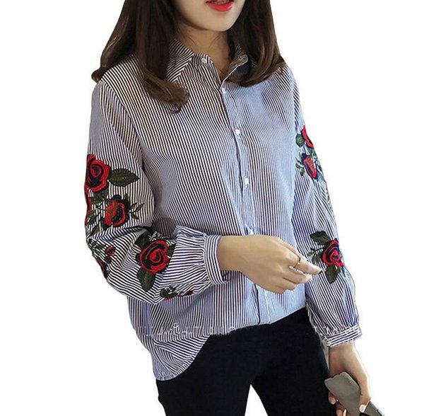 2019 Women Fashion vintage Casual Striped embroidery shirt Long-sleeved Chiffon Blouse office Shirts plus size Blouses & Shirts