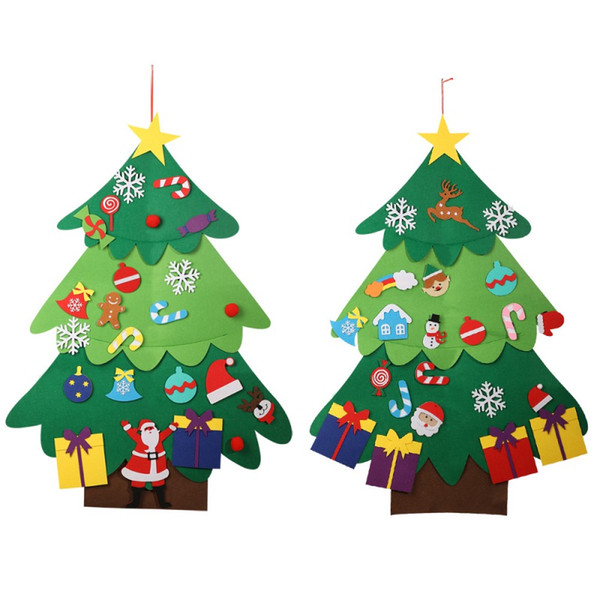 Niños DIY Fieltro Árbol de Navidad Con Adornos Niños Regalos de Navidad para 2019 Año Nuevo Puerta Colgante de pared Decoraciones de Navidad