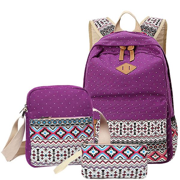 3 pcs/set Polka Dot Printing Women Backpack Cute Canvas Bookbags Middle High School Bags for Teenage Girls #252344