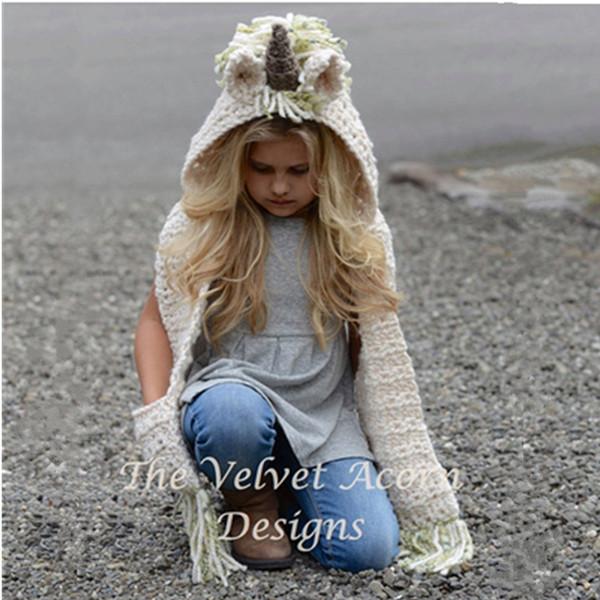 2 en 1 unicorn bufanda gorra Niños Infantil Llama Cálido Sombreros de punto Niños de dibujos animados más cálido Invierno crochet Sombrero 0601861