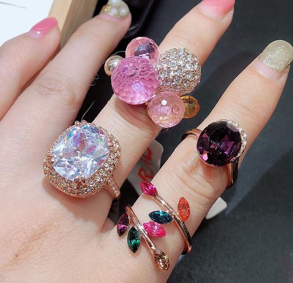 Atacado 10 unidades / lotes baixo preço de alta qualidade de diamante de cristal chaming 925 anel de prata diamante dama de cristal aleatória (5.8) dfnf