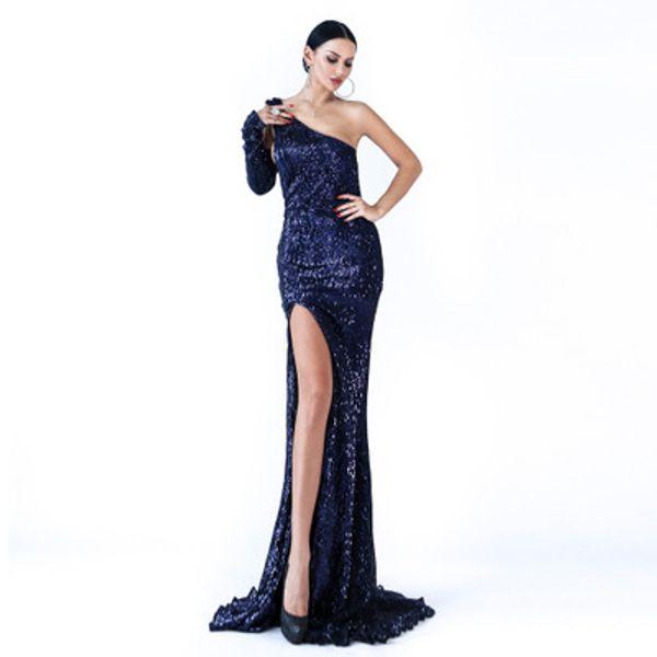 2019 Fashion Spring Summer Evening Dresses Sleeveless Mermaid Royal Blue Black Formal Gown Long Evening Party vestido de festa