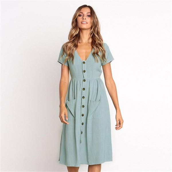 342a829daa Vestidos clásicos de verano de moda para mujer Botones de manga corta con  cuello en V