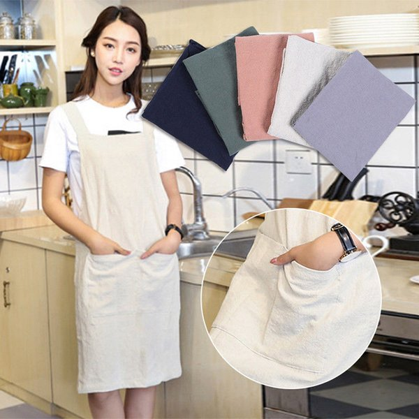 1Pcs Apron Woman Cotton Linen Adult Bibs Home Cooking Baking Coffee Shop Cleaning Aprons Kitchen Accessory L4