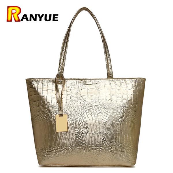 Marke Mode Lässig Frauen Umhängetaschen Silber Gold Schwarz Krokodil Handtasche Pu-leder Weiblichen Großen Einkaufstasche Damen Handtaschen Sac MX190726