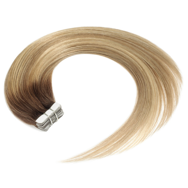 Tape In Hair Extensions Human Hair Blonde Tape in Extensions Ombre Brown to Blonde Remy Tape in Hair Extensions
