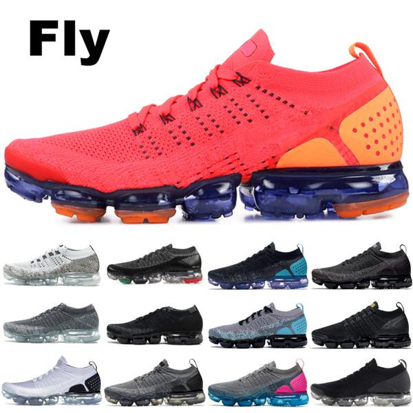 2019 Nike Vapormax flyknit 2.0 Fly 1.0 Tênis de Corrida Das Mulheres Dos Homens BHM Red Orbit Ouro Metálico Triplo Preto Sapatos de Grife Sapatilhas Formadores 36-45