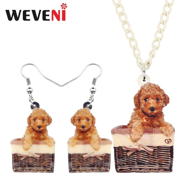 WEVENI Acrylic Sweet Basket Teddy Poodle Dog Necklace Earrings Jewelry Sets Anime Pets For Kids Girls Charms Gift Decorations
