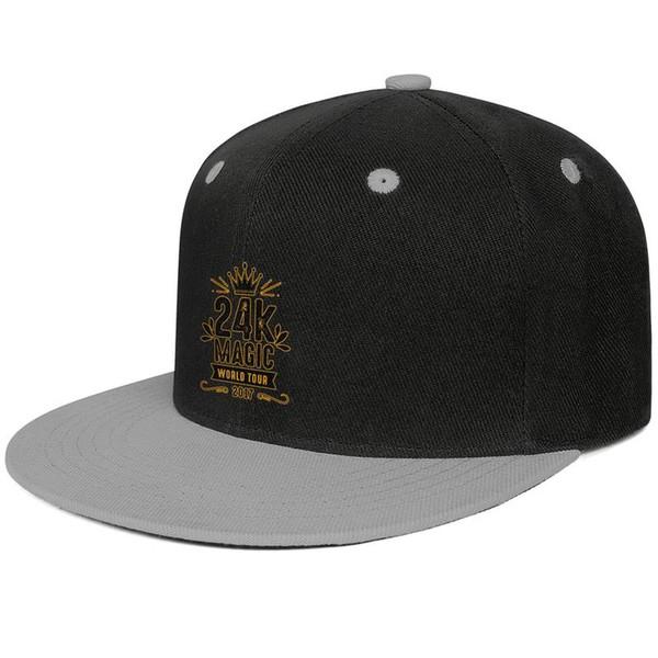 24k Magic Bruno Mars Gray for men and women trucker flat brim cap cool fitted custom blank vintage custom stylish classic flat brim hats