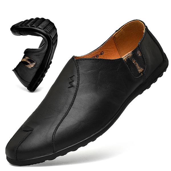 BONJEAN Leather Men Shoes 2019 Casual Mens Loafers Moccasins Breathable Slip On Black Driving Shoes Plus Size 38 47 Geox Shoes Cheap Shoes For Women