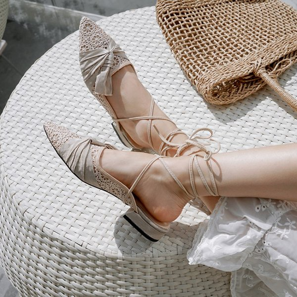 Luxury Designers New Sandalias Mujer 2019 Chic Mesh Upper Ankle Strap Shoes Woman Pleated Knot Girl Ballet Flats Chunky Heels Slingbacks