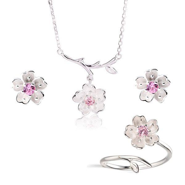 2019 Conjuntos De Jóias De Noiva De Casamento 925 Sterling Silver Pink Crystal Cherry Blossoms Flor Colares Brincos Anéis para As Mulheres