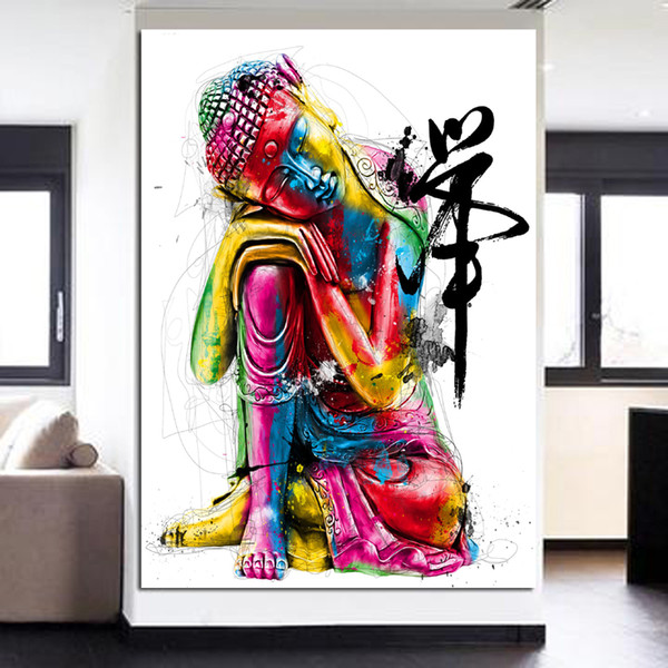 1 Pièce HD gravures peintures Zen Style dormir Bouddha Toile Art peinture imprime Bouddha peinture à l'huile Unframe pour salon sans cadre