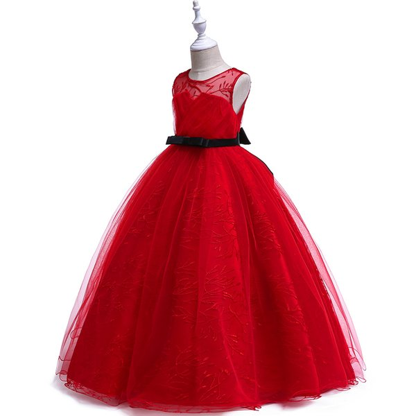 1pcs Girls Red Embroidered Strapless Long Ball Gown Wedding Dress Kids Luxury Elegant Floor-Length Party Prom Formal Occasion Dress