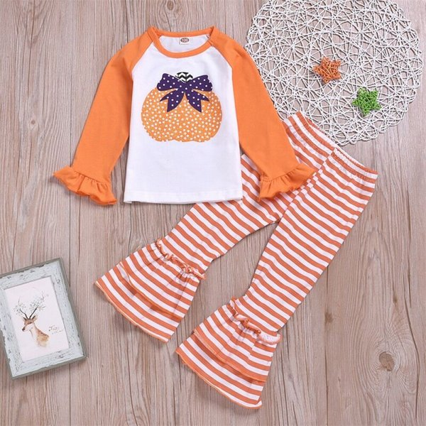 Pumpkin 2Pcs Halloween Clothes Kid Girl Long Sleeve Shirt Pant Stripe Legging Trouser Outfit Children Girl Clothes