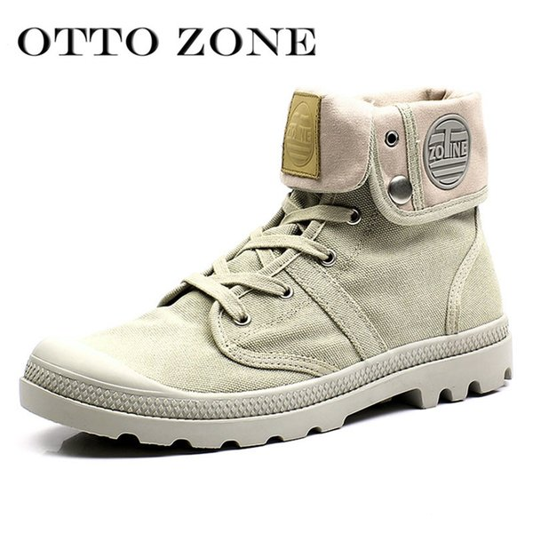 OTTO Men Palladium Style for 2017 High-top Military Ankle Boots Casual Canvas Shoe Comfortable Leather Fur Boots Size 39-45 #330727