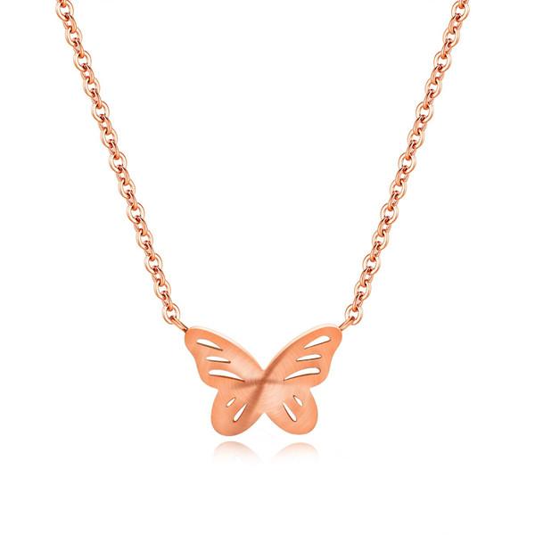 Moda semplice collana con ciondolo a farfalla in oro rosa Regalo creativo per gioielli da donna di alta qualità 3-GX1366