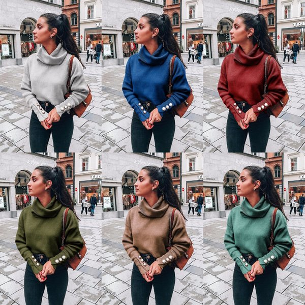 Hohe Kragen Sweatshirt Langarm Frauen Strickpullover 2019 Herbst Winter New Kinted Tops Fashion Casual Base Shirt