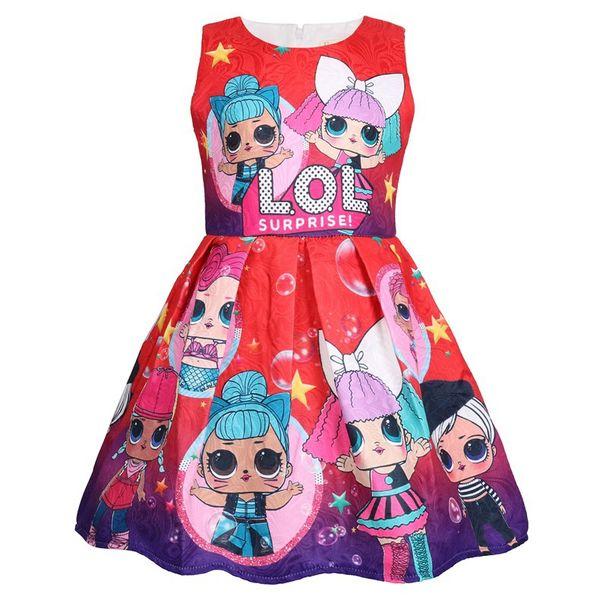 2019 nouveau lol robe de bande dessinée imprimer fille tutu robe sans manches été nouvelle marque de haute qualité 5pcs / lot B11