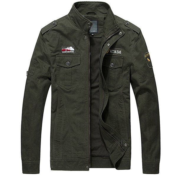 Cargo Giacche Uomo Casual Jacket Tinta unita Tattiche Coat Uomo 2019 Fashion Spring Uomo Giacca Coat Green Khaki HN07
