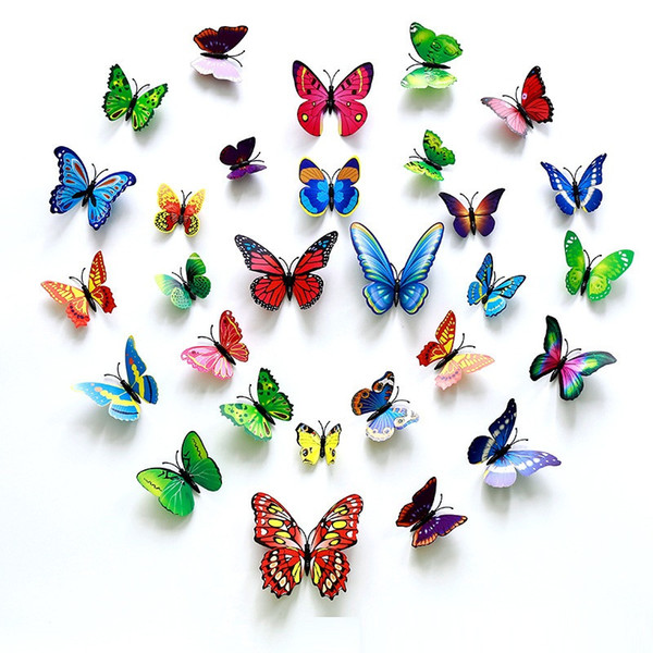 3D Wandaufkleber Kühlschrankmagnet Schmetterlinge DIY Wandaufkleber Ausgangsdekor Kinderzimmer Wanddekoration 12 teile / los