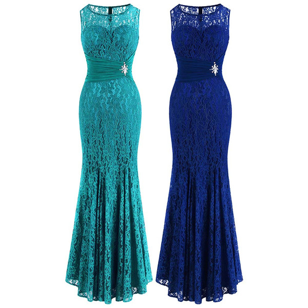 Angel-fashions Floral Lace Beading Crystal Pleated See Through Bodycon Maxi  Elegant Sleeveless Evening Dress Prom Party Royal Blue 418