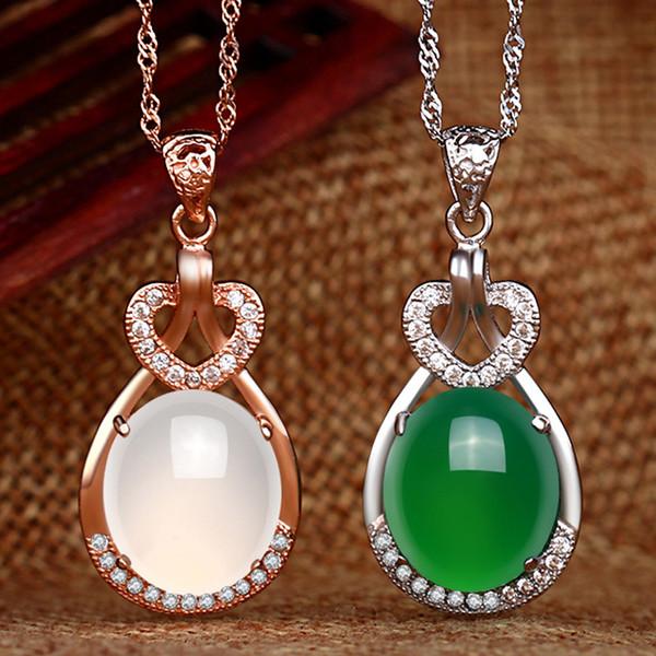 Natural Jade Green Stone pendenti di collana dei monili di cuore Argento 925 cristallo coreano per i regali di cerimonia nuziale di aggancio delle donne