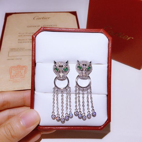 C Início Diamante Borla Brincos Orecchini NO Box Deslumbrante Diamante Lepord Em Forma de Bling Bling Brincos De Casamento