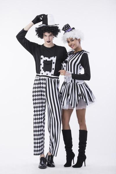 Halloween et Fancy Dress Party Femmes Hommes Thème Costume Clown Couples Cosplay Costumes Vêtements Designer Cirque