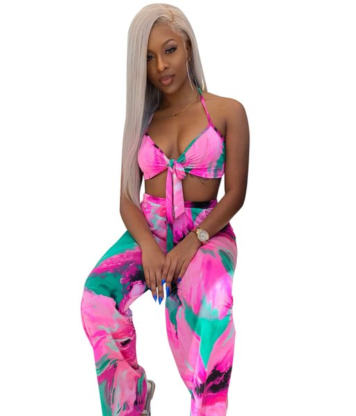 W8092 Explosion models Irregular printed tie-dye contrast color wrapped chest straps pants two-piece suit